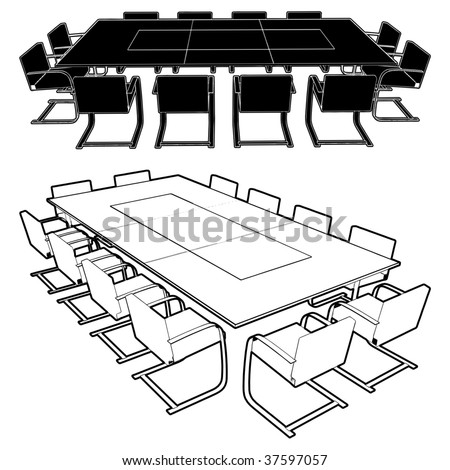Meeting Conference Table Vector 01