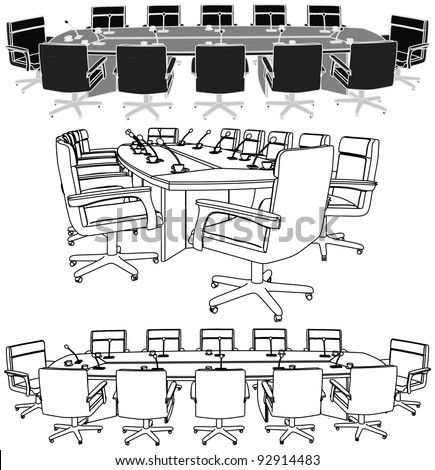 Meeting Conference Table Vector 02 - stock vector
