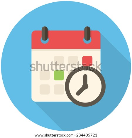 Meeting Deadlines, modern flat icon with long shadow - stock vector