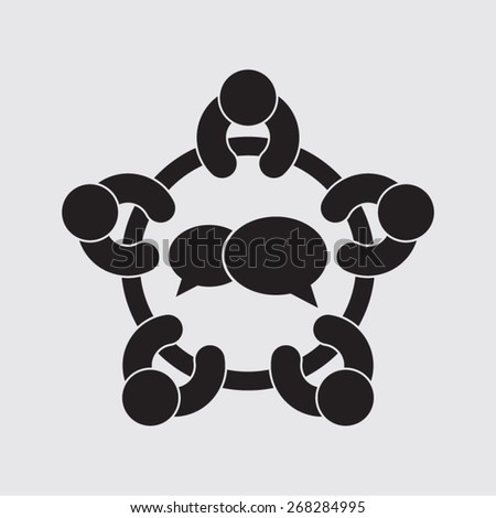 meeting discussion conference brainstorm talking opinion dialog opinion agreement pictogram vector icon - stock vector