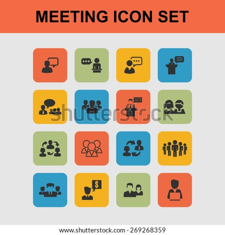 meeting icons - stock vector