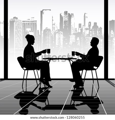 meeting in cafe - stock vector