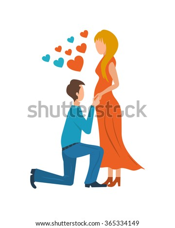 Meeting love couple.  - stock vector