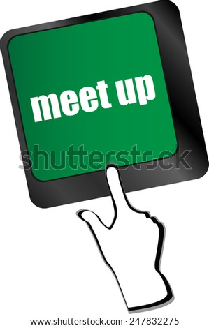 Meeting (meet up) sign button on keyboard with soft focus - stock vector