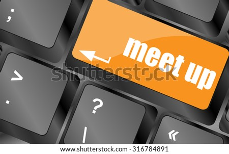 Meeting (meet up) sign button on keyboard with soft focus, vector illustration - stock vector