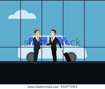 Meeting of two businessmen on the background of glass windows. Men shaking hands at a meeting. Man with luggage on wheels on a business trip. Car in the background. White cloud on the blue sky. Vector