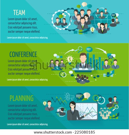 Meeting people horizontal banner set with team planning conference isolated vector illustration - stock vector
