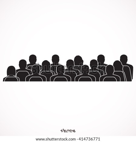 Meeting Rear View. Vector silhouette of anonymous people on a gray background.