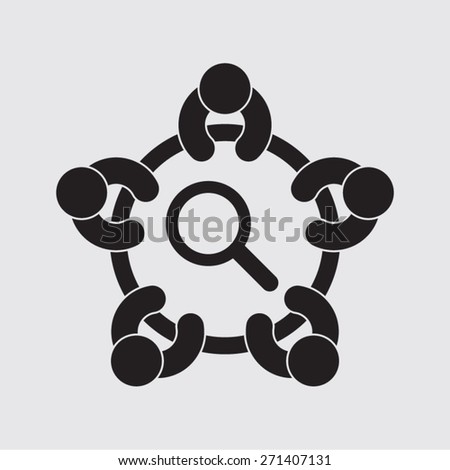 meeting searching information investigation analysis science vision vector icon - stock vector