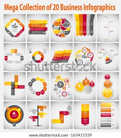Mega collection  infographic template business concept vector illustration - stock vector
