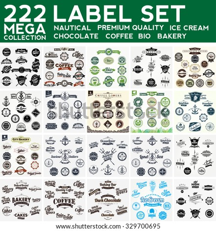 Mega Collection Label Set, Nautical,Premium Collection, Bakery, Ice Cream, Bio,  Chocolate, Coffee - stock vector