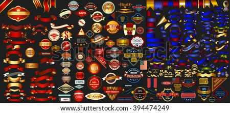 Mega collection labels set premium quality, cafe, bakery, sale, Christmas, and, coffee, USA, ribbons and other - stock vector