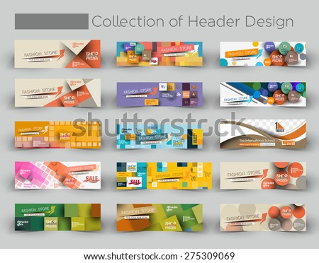 Mega Collection Modern Horizontal Banner & Header Template. - stock vector