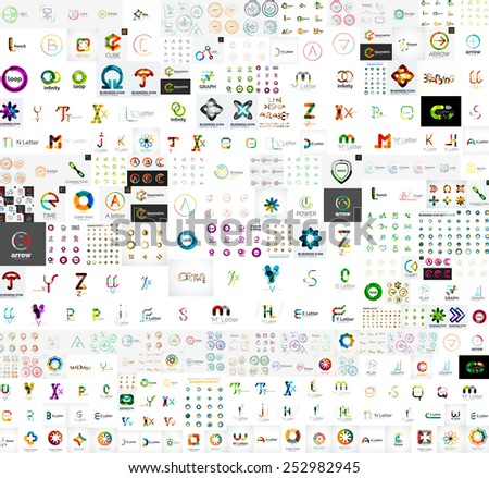 Mega collection of abstract company logo design concepts - stock vector
