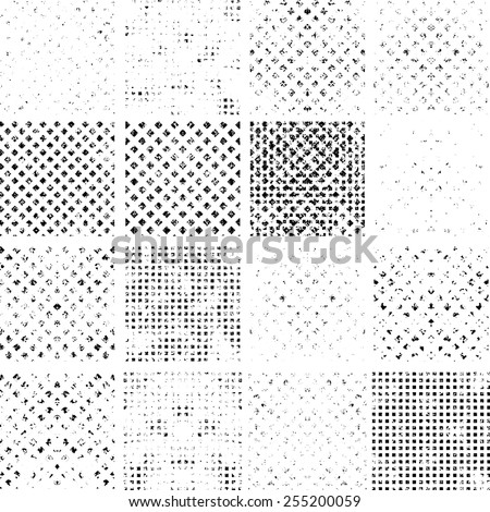 Mega Collection of Abstract Grunge Textures with Halftone Dots . Distressed Texture to Create Vintage Effect . Dotted Texture . Retro Background . Vector Background.  - stock vector