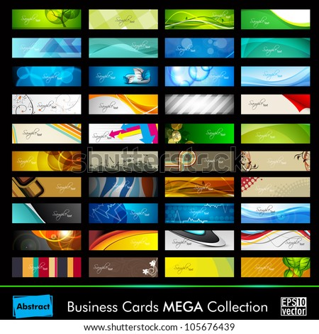 Mega collection of 40 abstract professional and designer business cards or visiting cards on different topic, arrange in horizontal. EPS 10. - stock vector