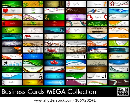 Mega collection of 78 abstract professional and designer business cards or visiting cards on different topic, arrange in horizontal. EPS 10. - stock vector