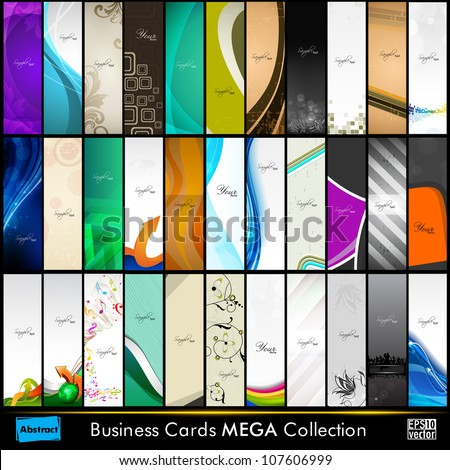 Mega collection of 33 abstract professional and designer slim business cards or visiting cards on different topic, arrange in vertical. EPS 10. - stock vector
