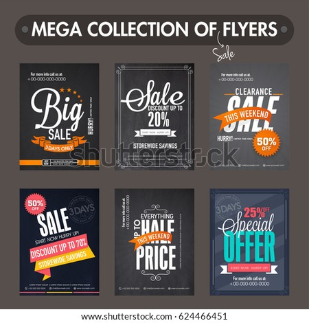 Mega Collection Big Sale Discount Flyers Stock Vector 624466451 ...