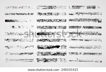Mega Collection of Black Grunge Original Brush Strokes. Distressed Texture. Messy Texture. Vector. - stock vector