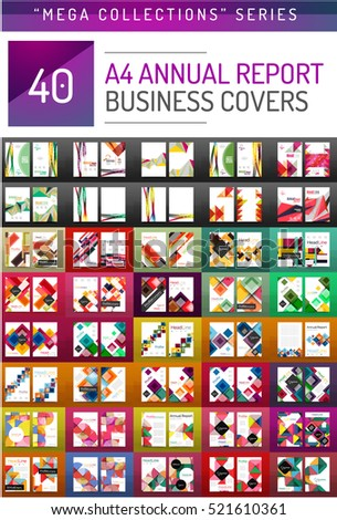 Mega collection of 40 business annual report brochure templates, A4 size covers created with geometric modern patterns - squares, lines, triangles, waves