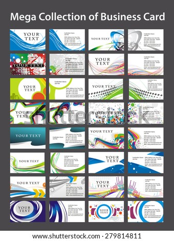 Mega Collection of Business Card Template Bundle .  - stock vector