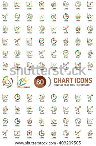 Mega collection of chart and graph business logos and icons - stock vector