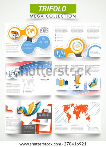 Mega collection of creative three fold flyers or brochures presentation for your business reports.