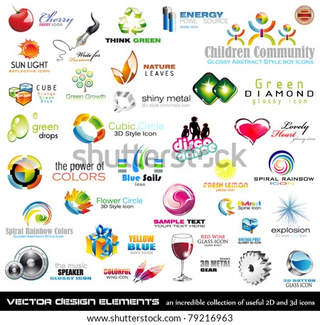 Mega collection of 2D and 3D quality design elements with a lot of variety ideal for business flyer and presentation, - stock vector