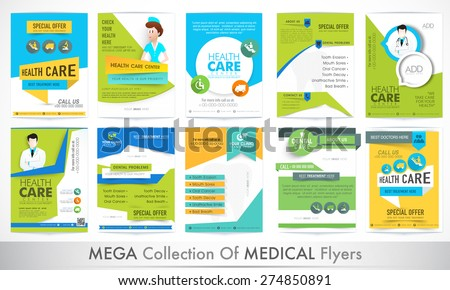 Mega collection of different stylish Flyers for Health and Medical concept.  - stock vector