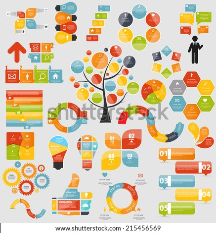 Mega Collection of Flat Infographic Templates for Business Vector Illustration EPS10 - stock vector