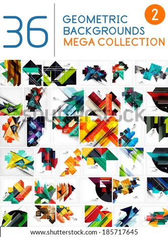Mega collection of geometric shape abstract backgrounds - stock vector