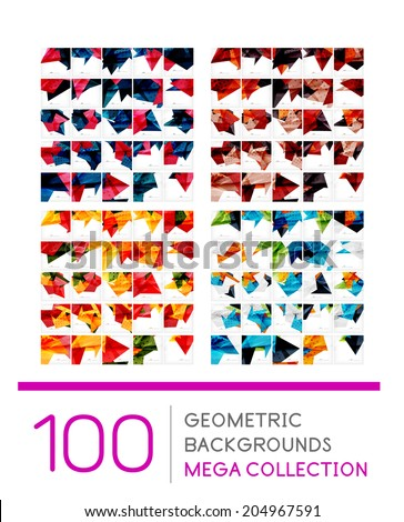 Mega collection of geometric shape abstract backgrounds - 100 layout templates - stock vector
