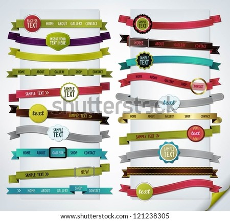 Mega collection of navigation bars - stock vector