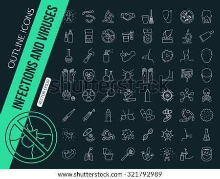 Mega collection of outline infections and viruses icons. Health protection, allergy, medicine, flu, bacteria. Vector illustration. - stock vector