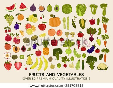 Mega collection of premium quality vector illustrations of fruits and vegetables - stock vector