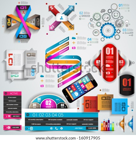 Mega Collection of quality Infographics objects . A lot of different templates ready to display your data. - stock vector