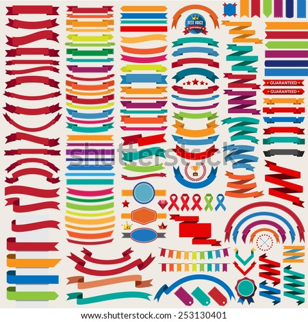 Mega collection of retro ribbons and labels.illustration eps10 - stock vector