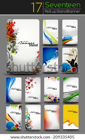 Mega Collection of Roll Up Banner Design  - stock vector