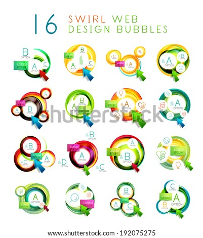 Mega collection of swirl web design infographic bubbles - flat concept. - stock vector