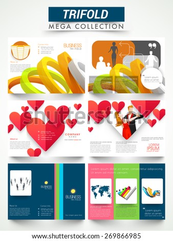 Mega collection of three fold flyer, template or brochure design for business and party purpose. - stock vector