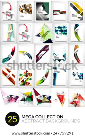 Mega collection of triangular, wave and other geometric abstract backgrounds - stock vector