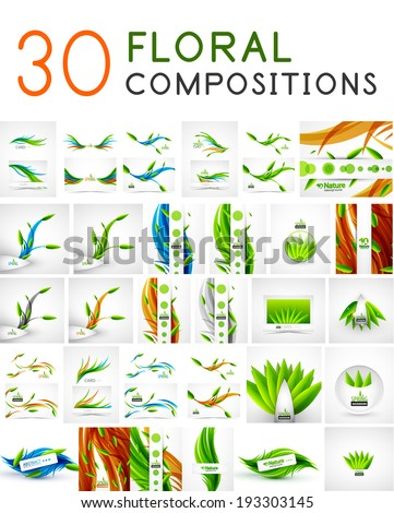 Mega collection of vector green leaf compositions, wave line backgrounds - stock vector