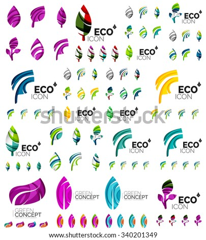 Mega collection of vector green summer concepts - leaves compositions, plants. Various futuristic colors colors, vector illustration - stock vector