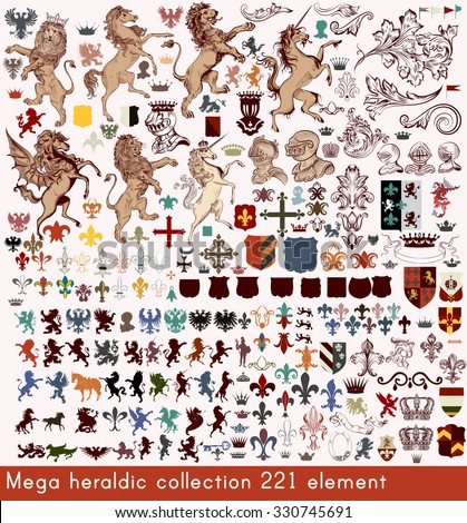 Mega collection of vector heraldic elements in antique style  elements for your design - stock vector