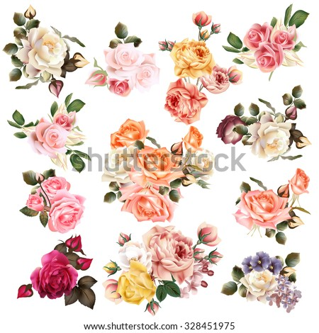 Mega collection of vector  high detailed realistic rose flowers on white for design - stock vector