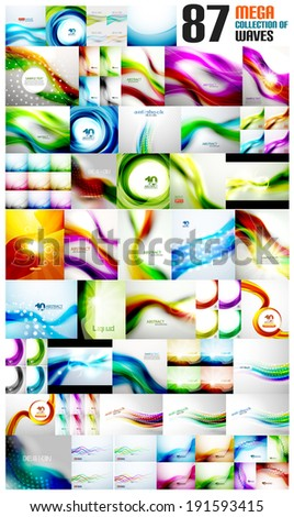 Mega collection of wave abstract backgrounds with copy space. For business / tech design templates, web design, presentations - stock vector