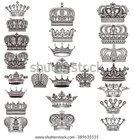Mega collection or set of vector detailed crowns for design