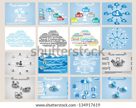 MEGA COLLECTION WEB CLOUD COMPUTING INFOGRAPHIC - stock vector