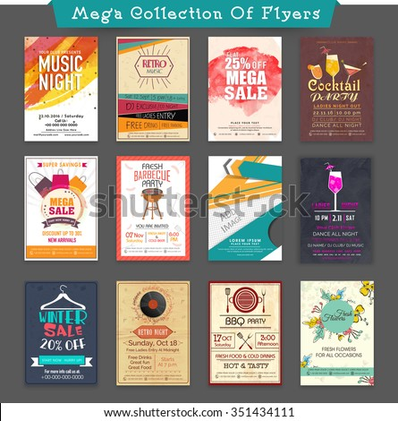 Mega collections of creative Flyer, Banner or Pamphlets for different business purpose. - stock vector